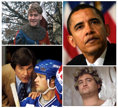 Uplifting words from (clockwise, from top left): King Henry, President Obama, Bluto Blutarsky, and Coach Brooks