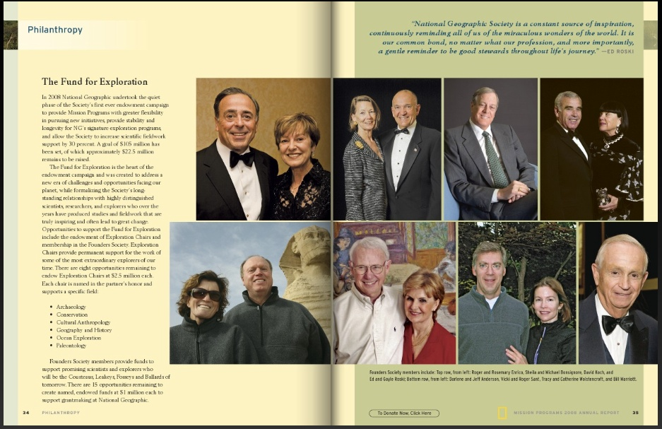 Founders Society members include: Top row, from left: Roger and Rosemary Enrico, Sheila and Michael Bonsignore, David Koch, and Ed and Gayle Roski; Bottom row, from left: Darlene and Jeff Anderson, Vicki and Roger Sant, Tracy and Catherine Wolstencroft, and Bill Marriott.