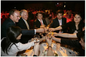 Chris Johns & Terry Adamson celebrate with our Society's new publishing partners in the People's Republic of China (2007).