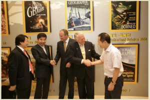 Chris Johns & Terry Adamson shake hands with our new publishing partners in the People's Republic of China (2007).