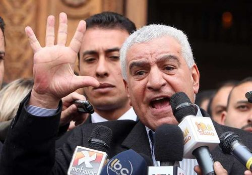 Zahi Hawass at microphones