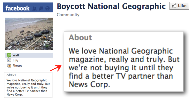 Facebook boycott National Geographic