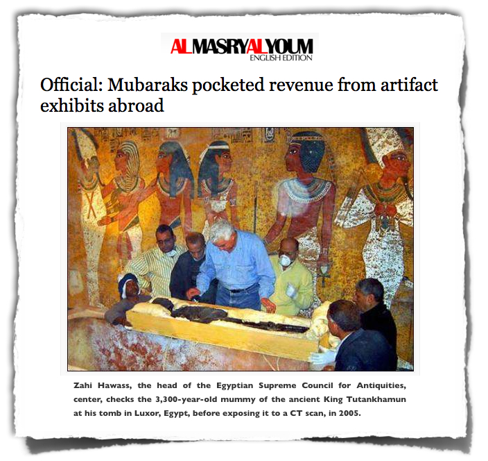 Mubaraks revenue Hawass