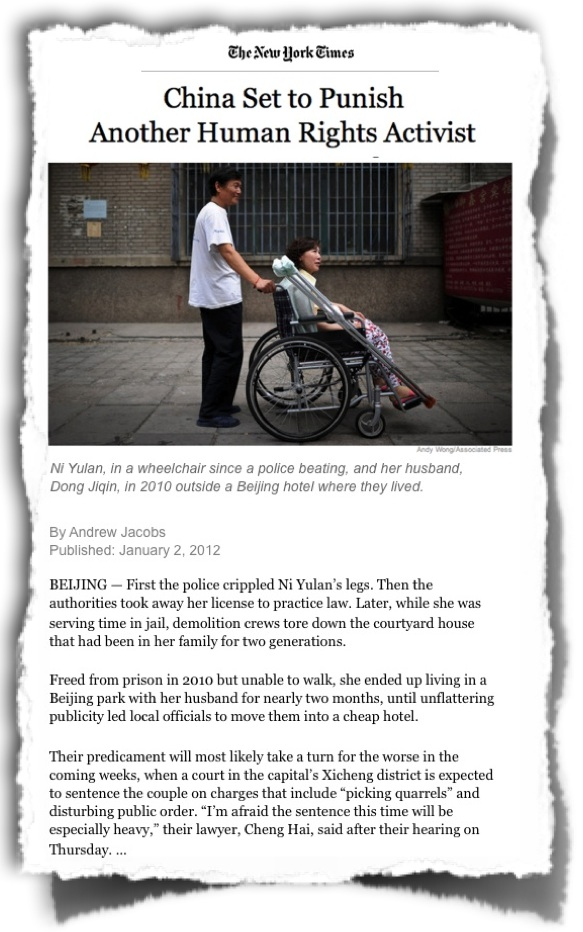 China human rights Ni Yulan wheelchair NYTimes