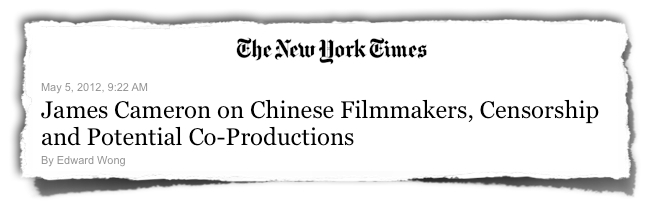 James Cameron China censorship NYTimes