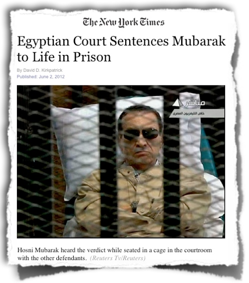 Mubarak in cage NYTimes headline