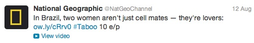 Nat Geo Channel cell mate lovers Twitter Aug 2012