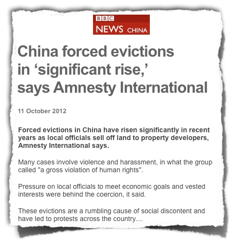 China forced evictions BBC Amnesty International