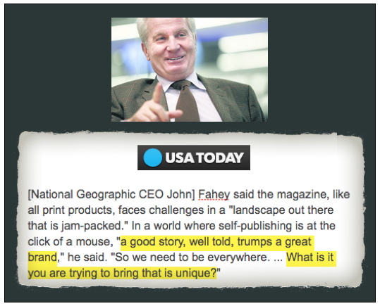 John Fahey USAToday good story trumps great brand