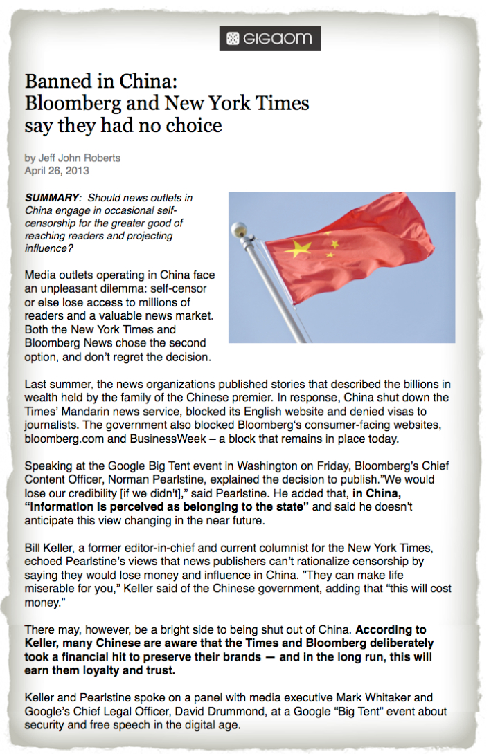 Gigaom China NYTimes Bloomberg censorship