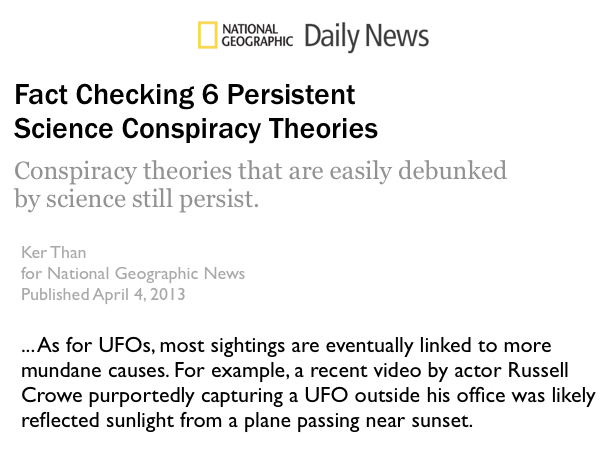 NG Daily News UFOs science debunks