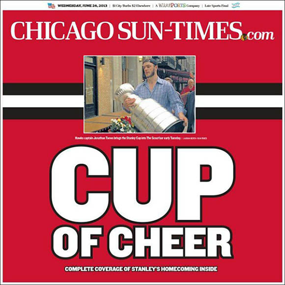Chicago Sun Times Stanley Cup cover