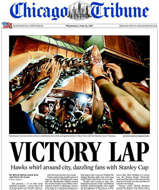 Chicago Tribune cover Stanley Cup