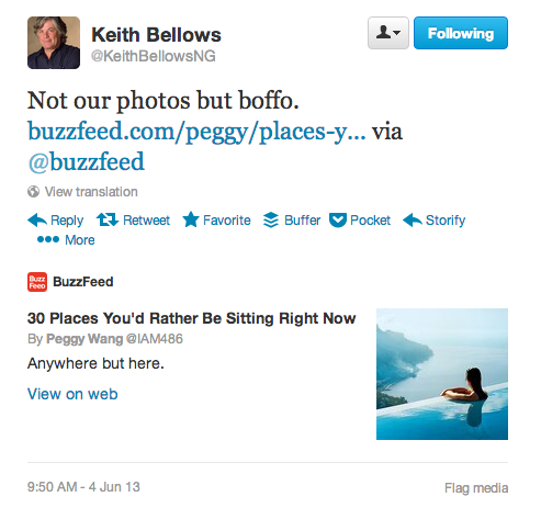 Keith Bellows tweet