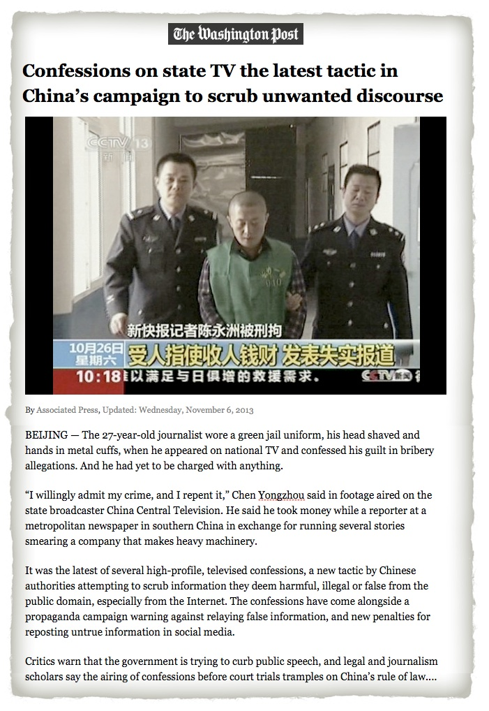 China confessions on TV WaPo